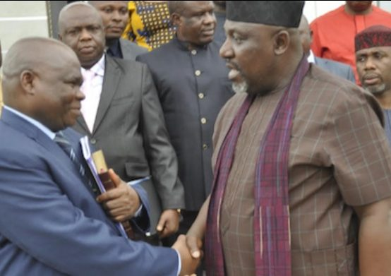 Imo state needs 20 universities, Okorocha tells Lazarus Muoka